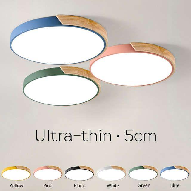 Online Shop Ultra Dunne 5 Cm Runde Holz Led Decke Lichter Macaron