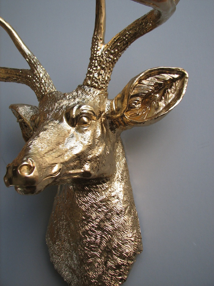 Gold Deer Head Faux Taxidermy Wall Hanging Wall Mount
