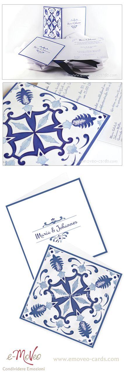 Blue Azulejo wedding invitation card Partecipazione matrimonio blu con design stile piastrella portoghese www.emoveo-cards.com