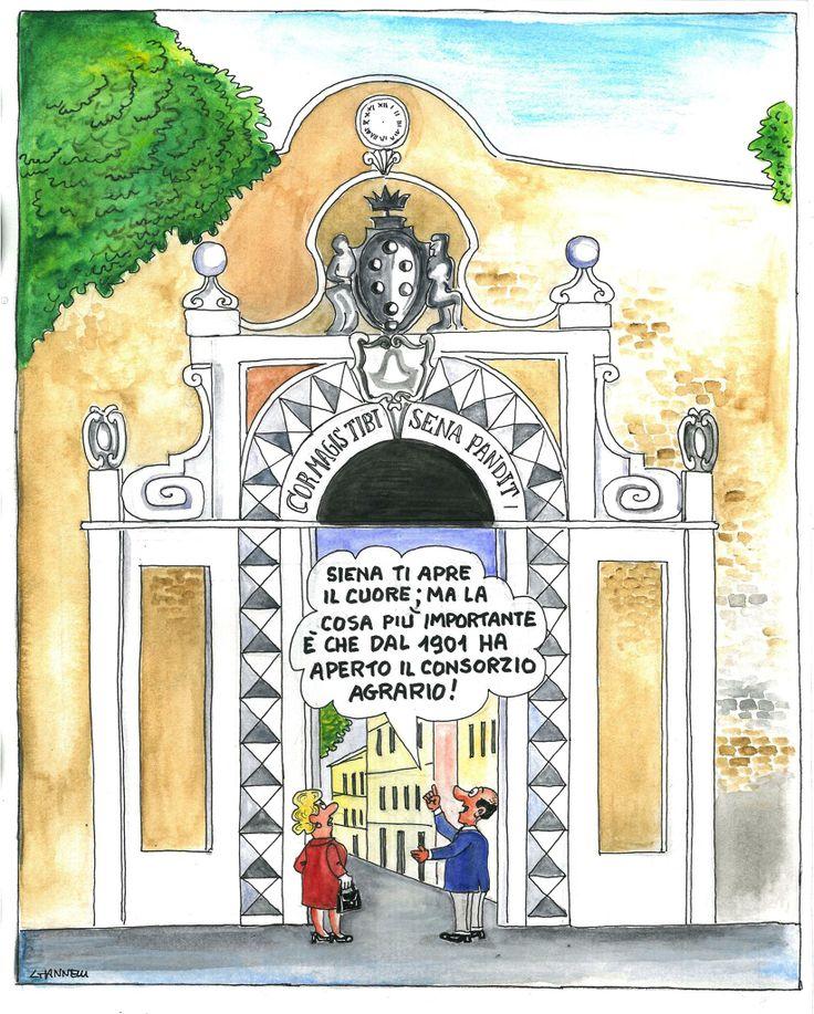 Emilio Giannelli racconta la sua Siena con 9 tavole inedite in omaggio al Consorzio Agrario.