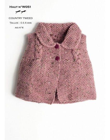 Modèle Haut Layette - W051- Patron tricot gratuit