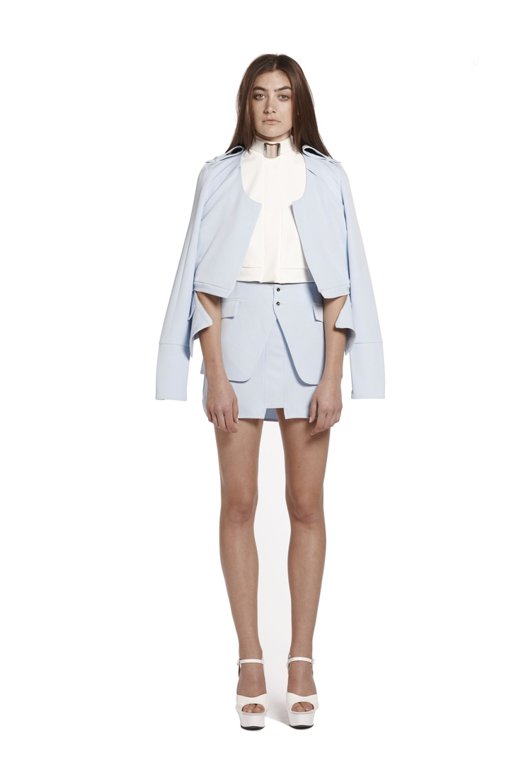 right of passage jacket & valley of neptune cropped shirt & right of passage mini skirt