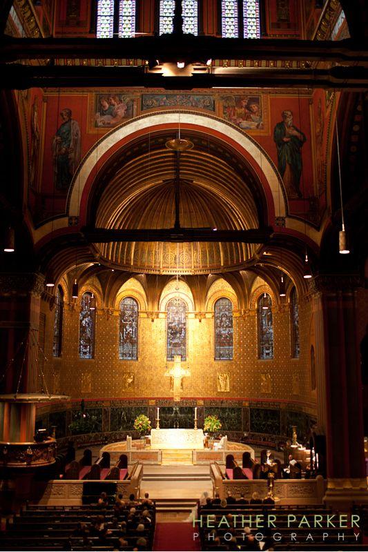 Trinity Church Boston sanctuary interior wedding ceremony of Ian and Whitney