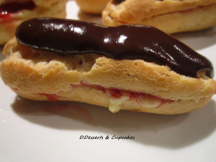 Homemade Éclair, strawberry-custard and chocolate.