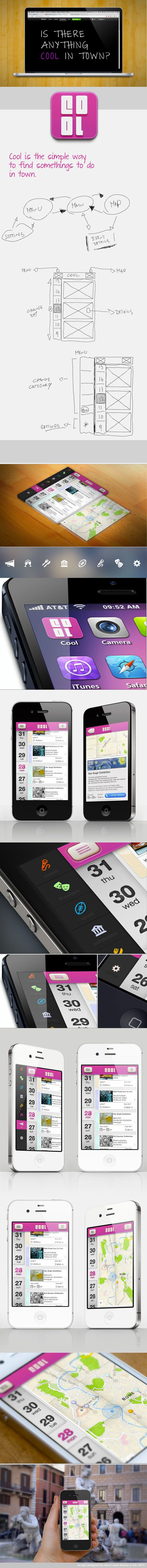 "Cool - iOS Events App *** "" Cool is an iOS app who provide all events around you, simple to use. "" by Marco Nenzi, via Behance"