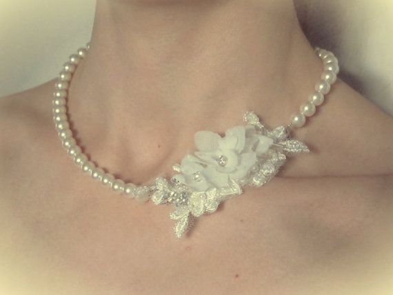 Bridal Handmade sheer silk organza flower and pearl necklace £40 by LucyFisherDesigns