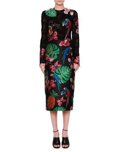 W0GGF Valentino Lace & Brocade Long-Sleeve Dress, Black/Multi