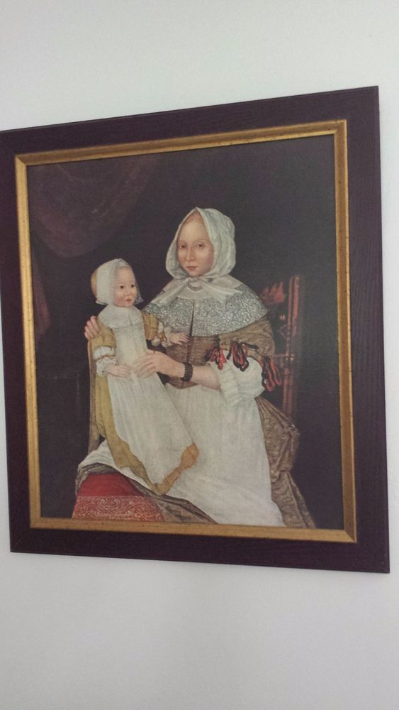Pre-owned, professionally framed, giclee print is in great condition with one barely discernible indentation. This is a canvas giclee print of a 17th century, circa 1684, mother and child portrait painting that is hanging in the Worcester Museum of Art in Worcester,Massachusetts.   eBay!