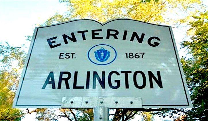 Arlington massachusetts town line sign arlington