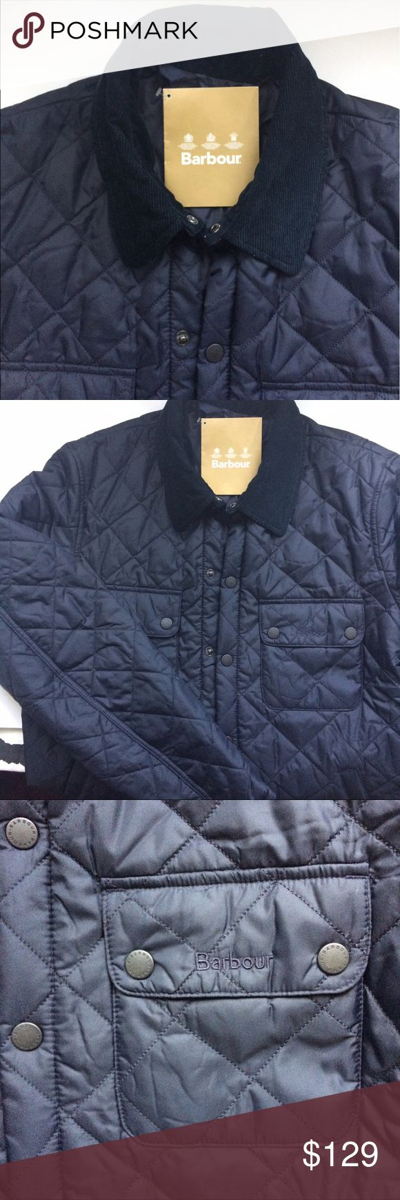 """NWT Barbour Quilted Jacket Side and front pockets, brand new, corduroy collar, 30"""" long, 20"""" wide from armpit to armpit measured laying flat Barbour Jackets & Coats"""