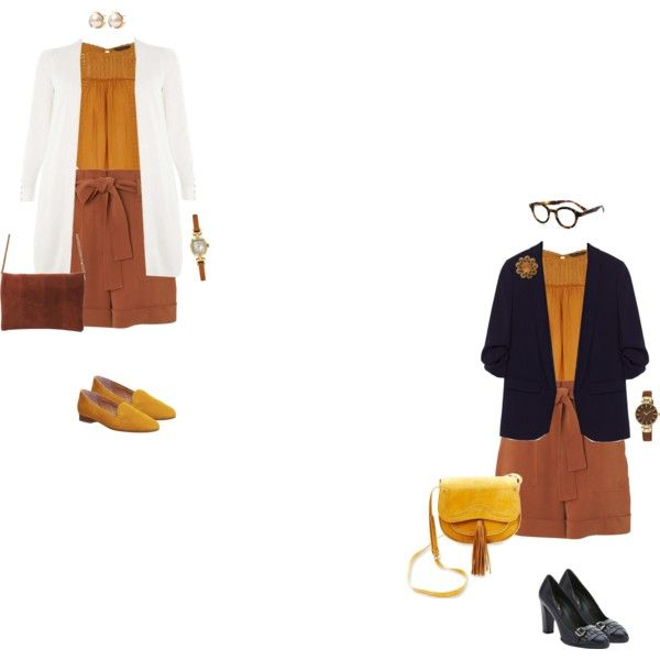 Mustard yoke blouse/rust shorts 1 by tracy-gowen on Polyvore featuring мода, Dorothy Perkins, Whistles, Tod's, Office, Steven, Anne Klein, Louche, Louis Vuitton and eyebobs
