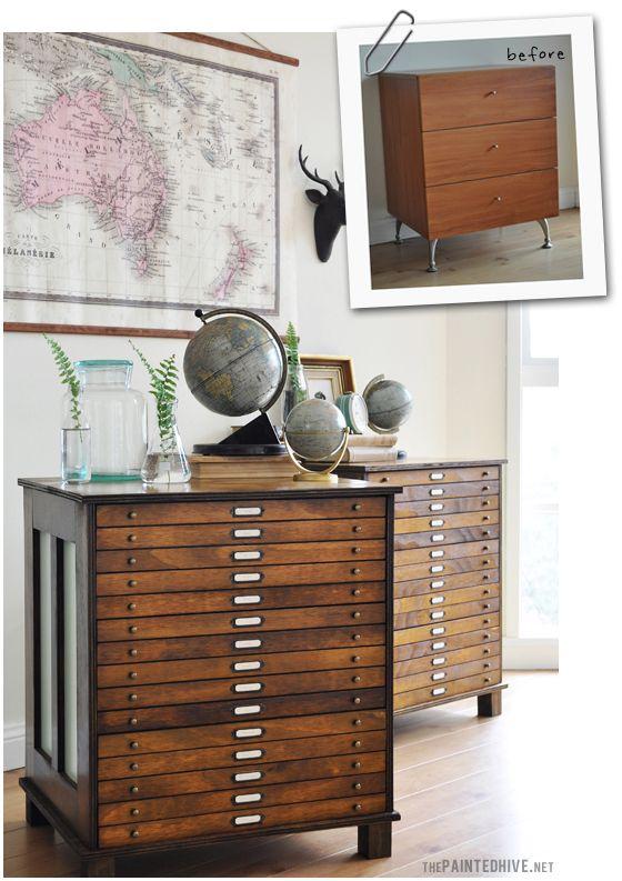 So erstellen Sie Ihre eigene Map-Stil Schubladen von jedem Grund Stück Möbel - DIY