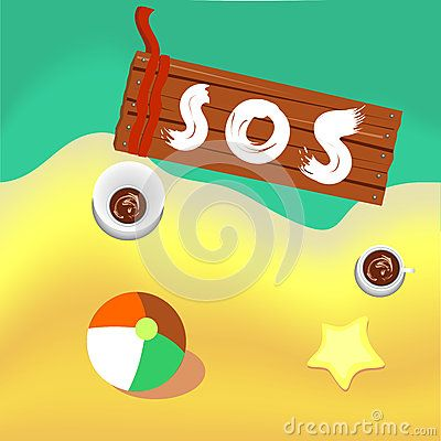 #Castaway #seaside #background imitating the #sand and #sea, along with different elements: one ball, abstract #starfish, two cups of coffee and #wood #board with #SOS #message written on it