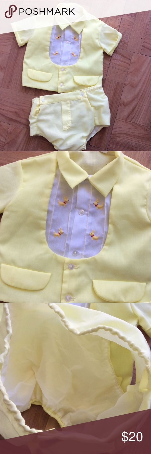 Vintage Baby Boy Yellow Suit Set Plastic Pant 0-6M So cute! Yellow set made for a baby boy. Pants have plastic lining. Size 0-6 Months. No rips or stains unknown Matching Sets