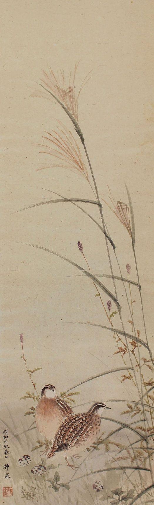 Antique Japanese Fine Art Wall Hanging Scroll Painting Bird and Flower Quail in the Japanese Pampas Grass Kakejiku – 1510059