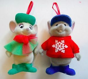 Vintage Disney The Rescuers Flocked Christmas Ornament Set Bernard Bianca Mouse | eBay