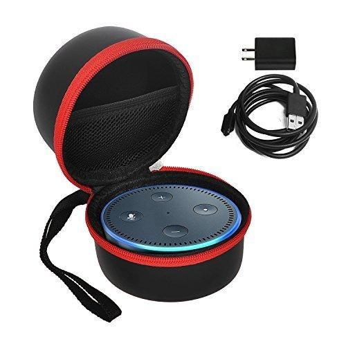 Echo Dot case / bag / box KuGi Portable Protective Carrying Case Cover Bag Box for Amazon Echo Dot and All-New Echo Dot (2nd Generation) Compatible with USB Cable and Wall Charger (Black-Red)