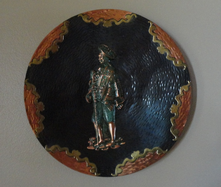Vintage Brass, Copper N Bronze Plate With Inca Indian Man. $33.00, via Etsy.