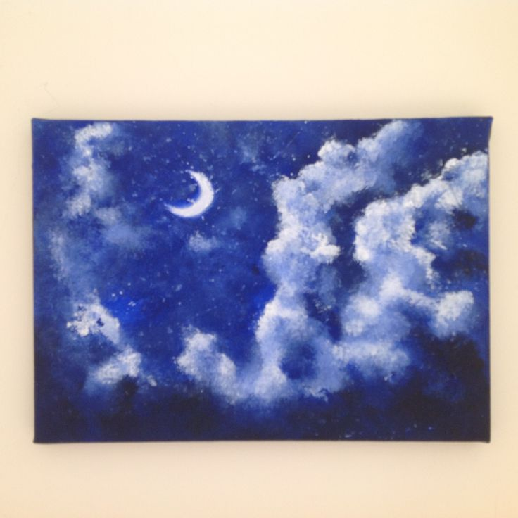 Clouds racing across the dark sky, the moon shining in the night sky. www.artfinder.com/tina-hiles