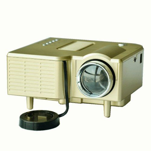 """Mini Shop® Mini Multimedia LCD Image System Home LED Digital Projector 60"""" Cinema Theater, PC Laptop VGA Input USB UC30(SD / USB / AV / VGA /HDMI Port) (Gold). Size - UC28. Free 7ft m/m VAG Cable. One Remove Control. Suit For Home Video Playing, Personal Meeting to Projecting Files, Outdoor Projecting (NOT FOR TEACHING, PROFESSIONAL BING MEETING,HD PROJECTING). Support PC Laptop VGA Input. Fast, Easy Installation, Light Weight To Be Taken."""
