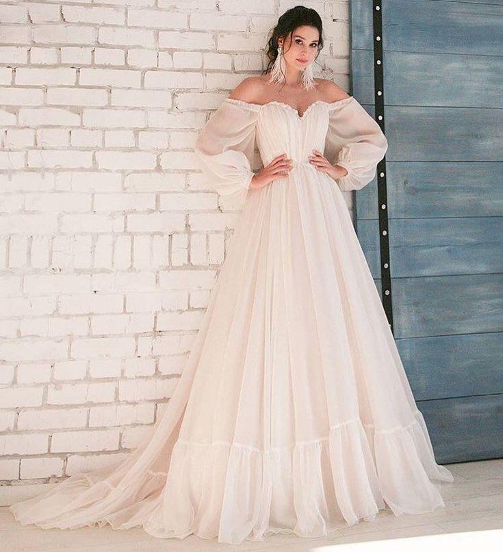 Boho wedding dress simple long sleeves modern white blush pink belt ivory wedding gown elegant tulle classic bohemian unique stylish train