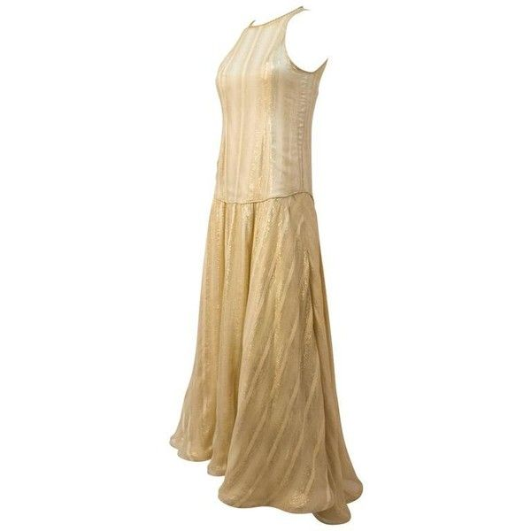 Preowned 70s Gold Disco Lamé Dress (750 BRL) ❤ liked on Polyvore featuring dresses, brown, evening dresses, gold metallic dress, embellished cocktail dresses, gold sheer dress, gold lame dress and brown dresses