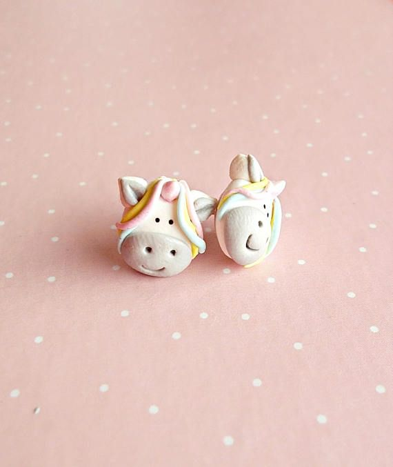 #unicorn #gifts #fantasy Unicorn Stud Earrings - Pony Jewelry - Pastel Earrings - Earrings for Girl - Rainbow Stud Earrings - Gift for Unicorn Lover - Kids Gift