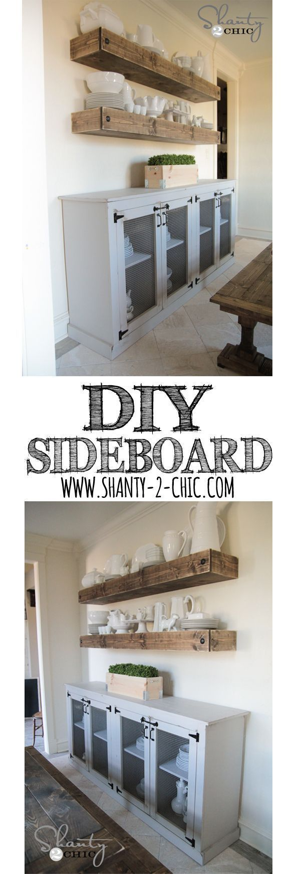 LOVE this DIY Farmhouse Sideboard! Free plans and tutorial by http://www.shanty-2-chic.com