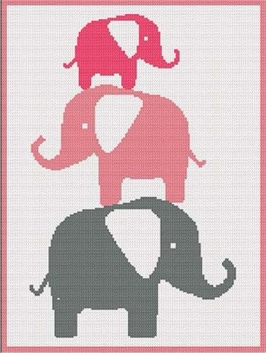 Baby+Elephants+Pink+Stacking+Afghan+Crochet+Pattern+Graph+PDF+Email
