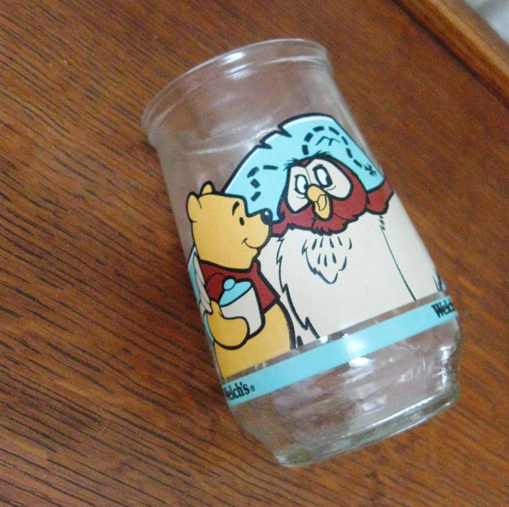 Who remembers these Welch's jelly jars? Repin if you/your parents saved them as drinking glasses back in the day! Had all of them. // Vintage Welch's Jelly Jar Glass Cup, Winnie the Pooh and Owl. $6.00, via Etsy. #90s