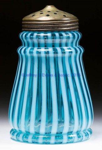 19th century Blue Striped Glass Sugar Shaker
