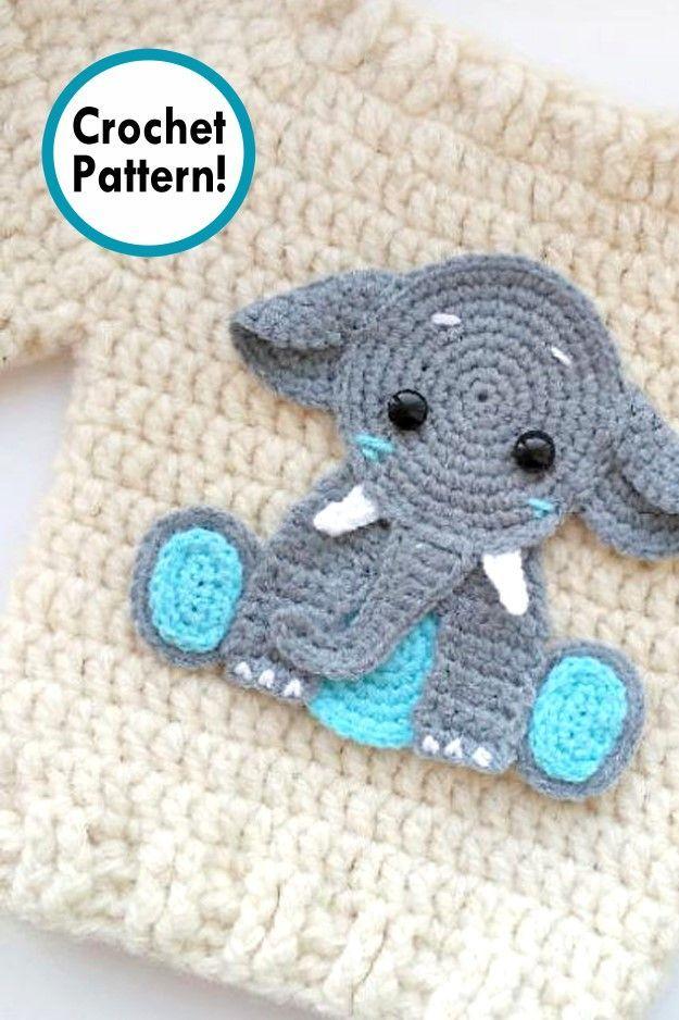 Elephant Applique Crochet Pattern Cute Applique Pattern For Bags