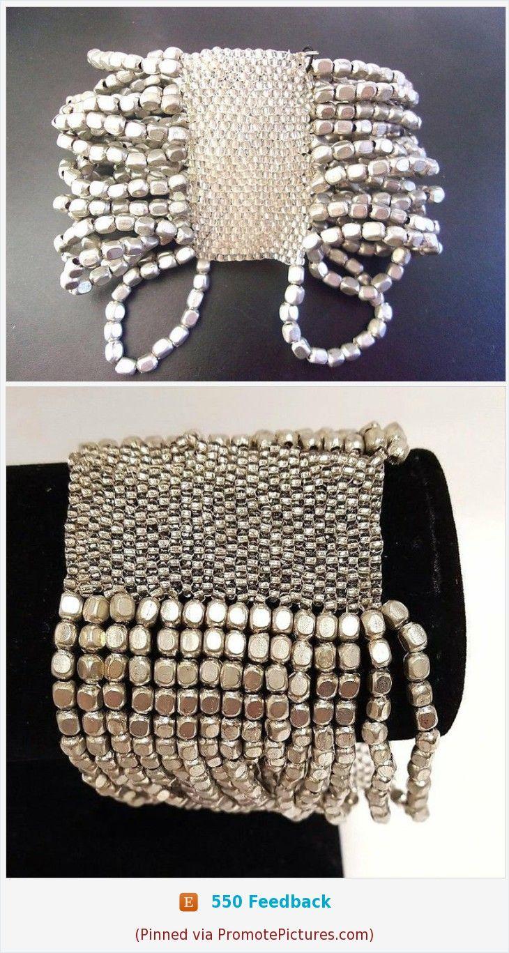 8e8dce1b3b1 Silver Glass Bead Mesh Stretch Bracelet, Multi Strand, Extra Wide Vintage  #stretchbracelet #