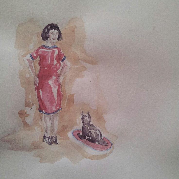 Emma e Fausto, il gatto. Emma and Fausto, the cat. #Personaggetti #fruso #artworks #artwork #watercolor #watercolour #mywatercolor #acquerelli #acquerello #cool #coatto #wall #rosa #rose #muretto #igersroma