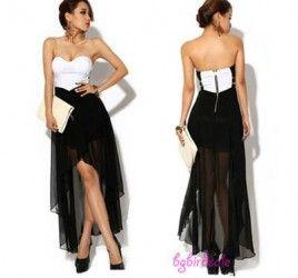 Women Summer Skirt Asymmetric Cocktail Party Evening Dress Sexy Strapless Dress