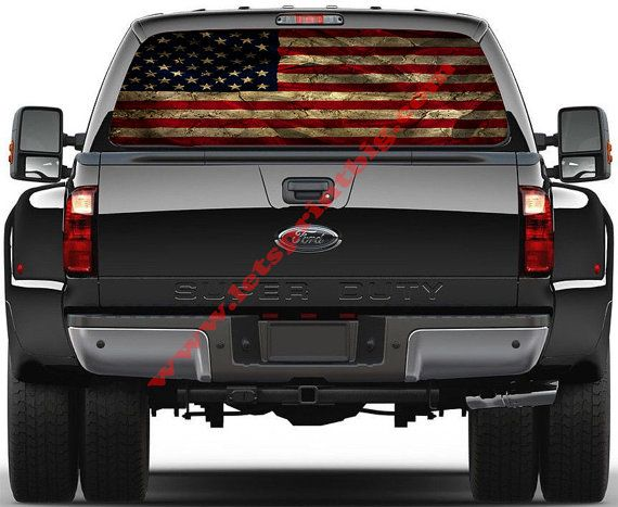 This listing is for rear window decal.  Size - Full Size Truck Rear Window   Aged American Flag   19.75 inches high x 65 inches wide - Full Size Truck     We can make any other size you might want as a special order. Please contact us.     We are a real business with a brick and mortar building. We are not just working out of our home.     This is not cheap vinyl. We use the best quality window perf film on the market.     FREE ECONOMY SHIPPING.  YOUR SATISFACTION GUARANTEED!  WE ARE HERE IF…