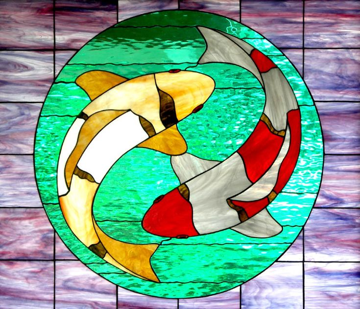 koi stained glass | This piece is about three feet wide and was recently done for a new ...