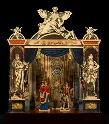 Publisher: Gustav Kühn; Proscenium: Neue Theater Proscenium, sheet number 8709; Scenery, Kirche (Church), no. 7588/7589; Figures, Maria Stuart, no. 4303 (1860). Germany, ca.1835; Hand-colored copper engraving with proscenium facsimile