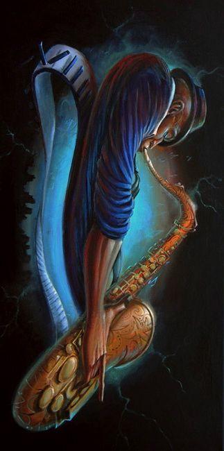 Jazz Saxophonist By Artist Frank Morrison