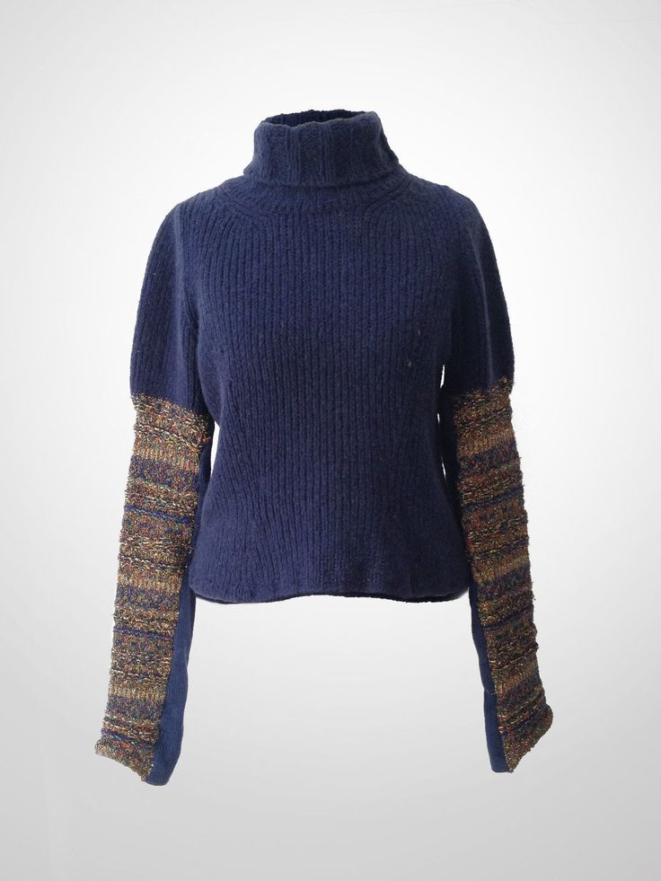 Dries VAN Noten Blue Turtleneck Jumper Sweater With Gold Embroidery ON Sleeves | eBay