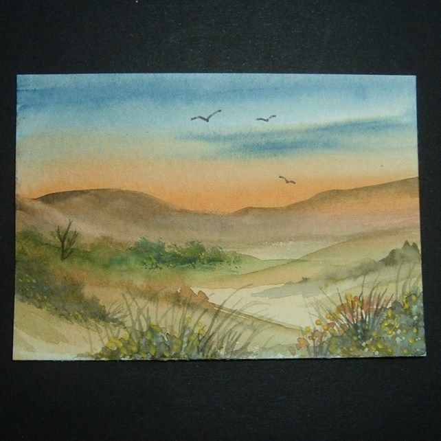 Art painting aceo SFA original paintings sunset landscape  £4.00