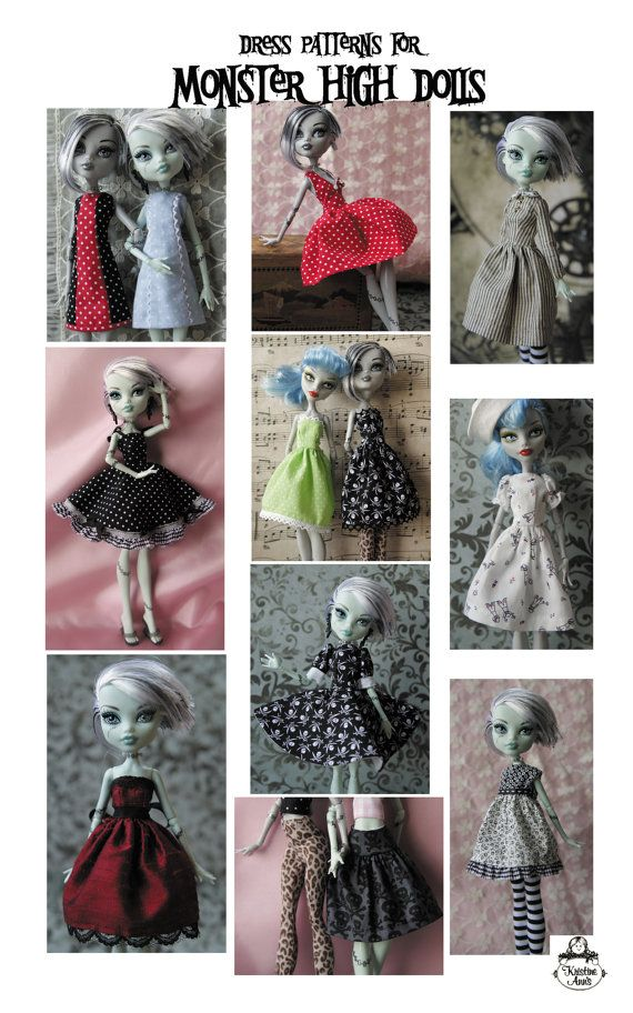 Monster High Dolls - Pattern for Dresses via Etsy