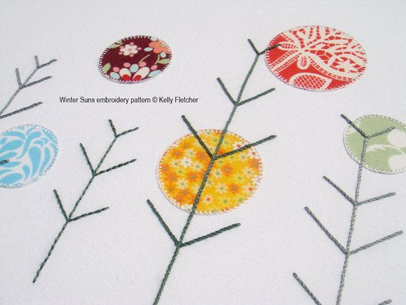 Winter Suns modern hand embroidery pattern - modern embroidery PDF pattern, digital download