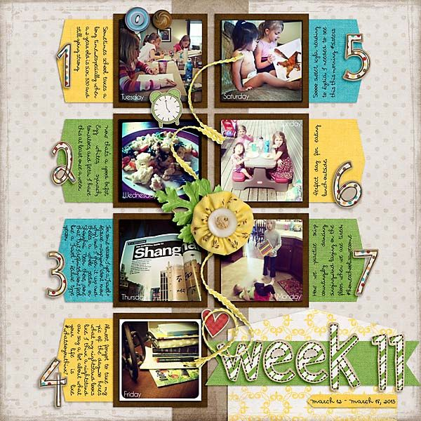 Weekly Review: Crafty Bits, Color, Digital Scrapbooking, Project Layout, Week 11, Weekly Project, Craft Ideas, Scrapping Projects