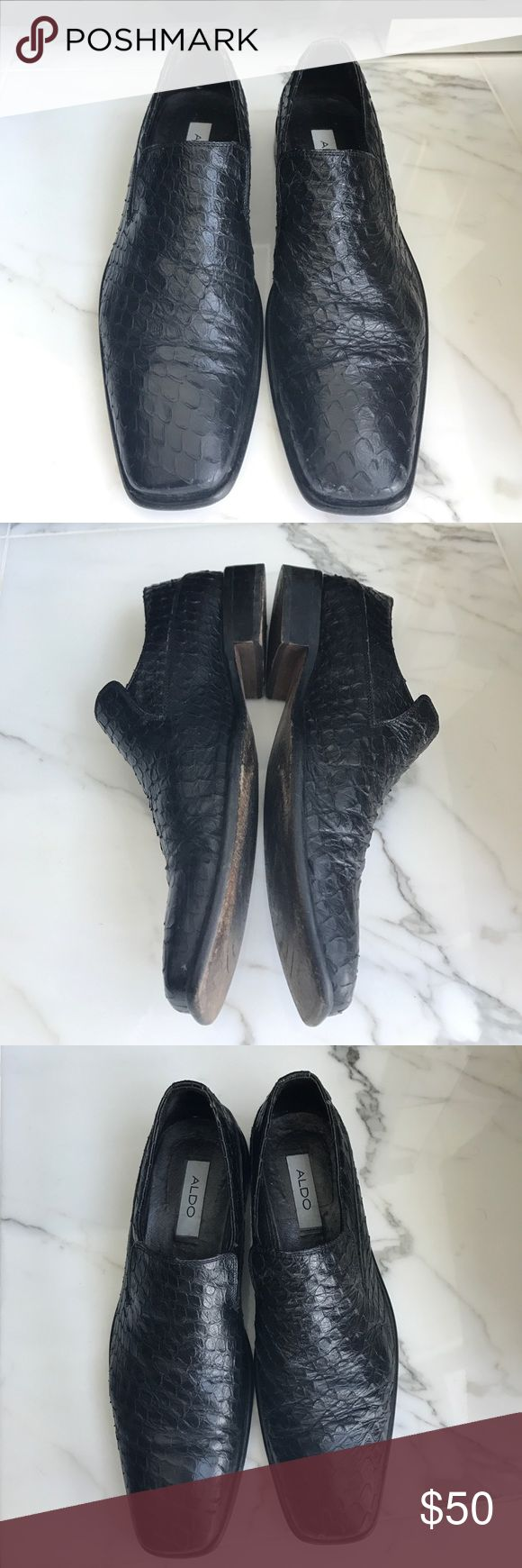 Aldo Black Leather Loafer Slip On Dress Shoes Good condition. Gator design. These shoes were used minimally with additional inserted soles so inside is clean. Vero Cuoio stamped Italian leather. European size 43. Aldo Shoes Loafers & Slip-Ons