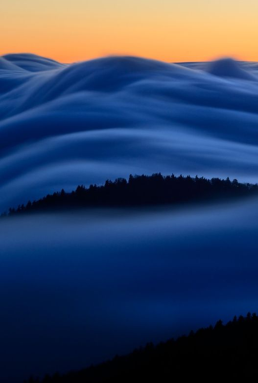 Twilight blue descends on the hills of Great Smoky Mountains National Park. (Tennessee/North Carolina)