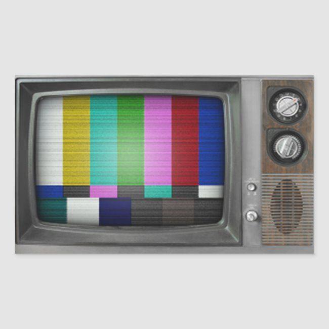 Old Tv Rectangular Sticker Zazzle Com Old Tv Retro Tv Vintage Tv