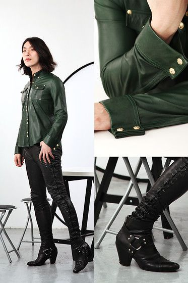 Get this look: http://lb.nu/look/5066674  More looks by Philip Mak: http://lb.nu/vanvan417  Items in this look:  Balmain Leather Shirt, All Saints Lace Up Pants, Gareth Pugh Biker Boots