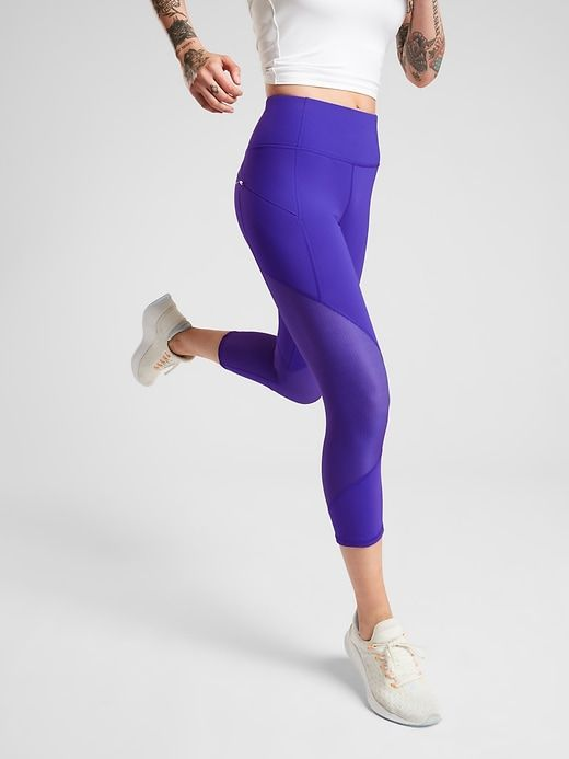 b81ce4aed6e60f Athleta Women's Mesh Contender Capri In Powerlift Paradise Blue Big And  Tall Size XL
