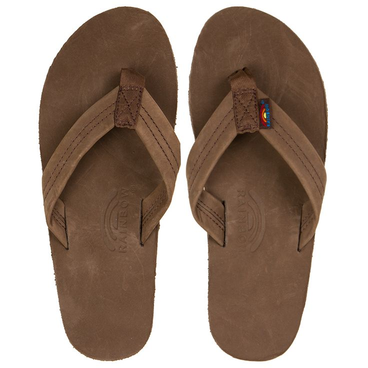 The Rainbow Sandals Single Layer Narrow Strap Men's Sandals in the Espresso color way feature a newbuck leather top sole and strap. The strap is double stitched and a nylon toe piece is secured with a